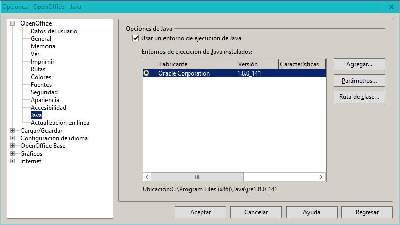 openoffice configuracion java