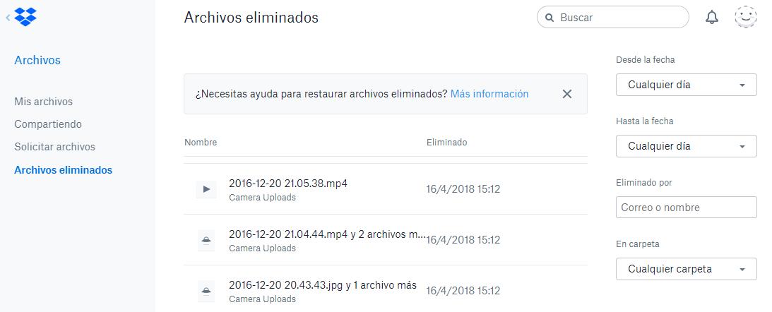 listado archivos eliminados