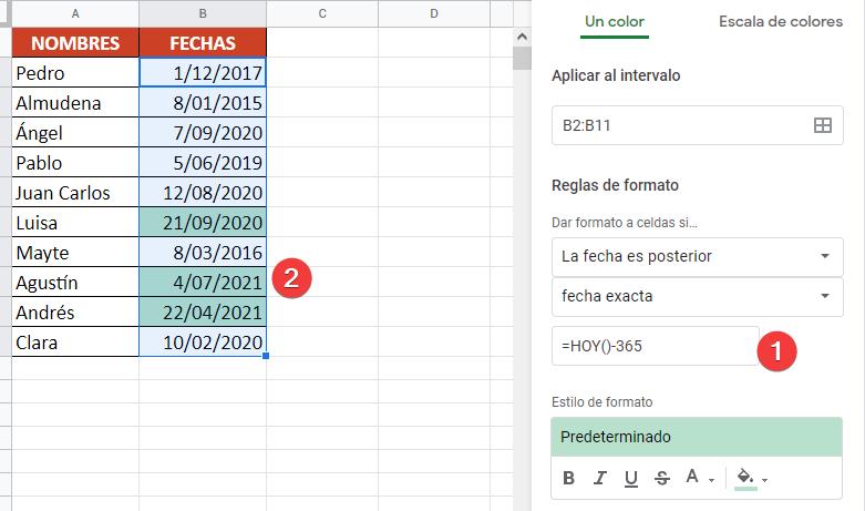 poner fórmula en valores de formato